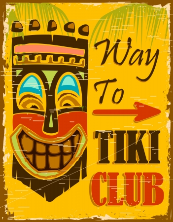 hawaii beach: illustraion of vintage poster for way to tiki club