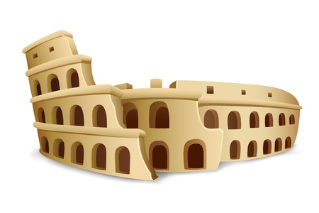 archeology: illustration of model on Roman Colosseum on white background