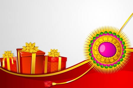 illustration of raksha bandhan background with rakhi and gift Vector