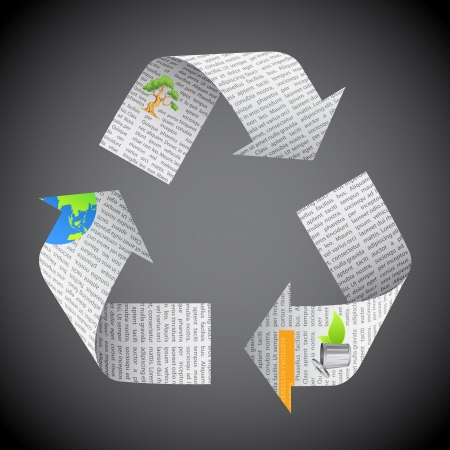 environmental awareness: illustration of recycle symbol made of newspaper