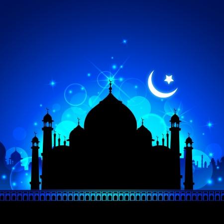 ramzan: Ilustraci�n de la vista del Taj Mahal en Eid noche con la Luna