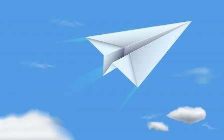 papier pli�: illustration d'avion en papier vole dans le ciel