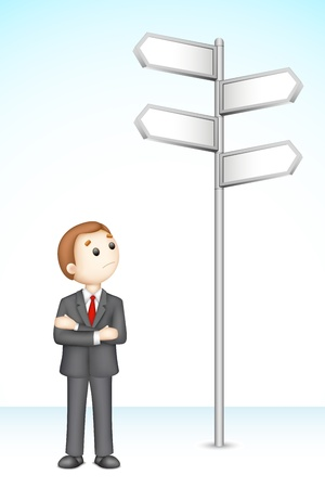 illustration of 3d confused business man in vector fully scalable standing near direction board Vector