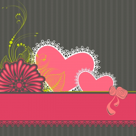 illustration of love background with lace pattern heart and flower Vector