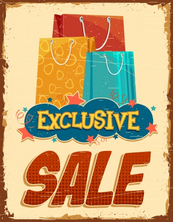 illustration of colorful shopping bag in vintage sale banner Vector