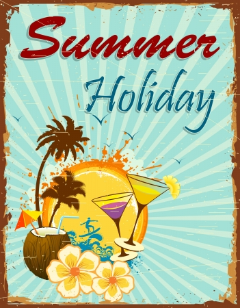 cocteles de frutas: la ilustraci�n del cartel de vacaciones de verano con la palma y de coco