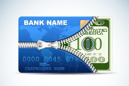 credit card debt: illustration of dollar inside credit card with zipper Illustration