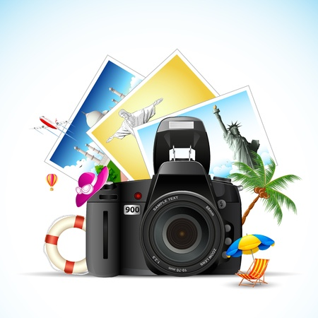 illustration of travel monument photo with camera Vector