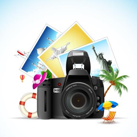lifebouy: illustration of travel monument photo with camera