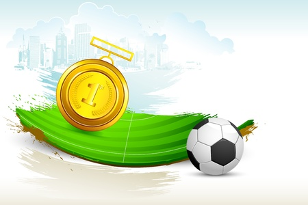 illustration of gold medal on soccer pitch with grunge Stock Vector - 14355315