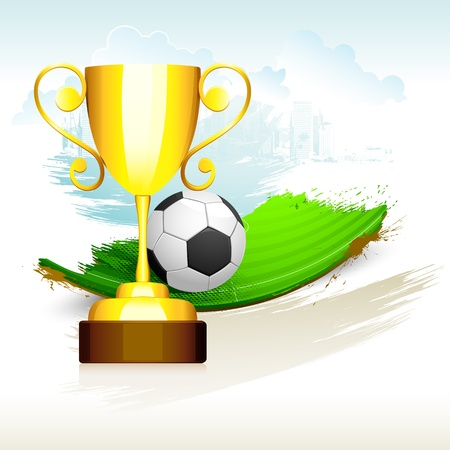 illustration of gold trophyl on soccer pitch with grunge Stock Vector - 14355321