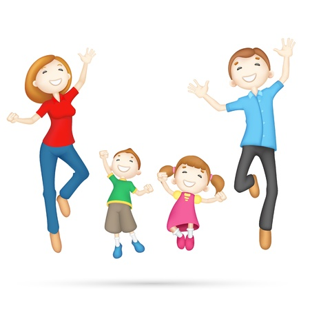parenthood: illustration of 3d jumping family in editable vector