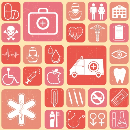 illustration of medical icon on abstract collage background