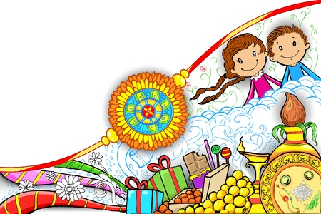 auspicious: illustration of rakhi on Raksha Bandhan doodle
