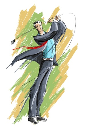 illustration of business man playing golf