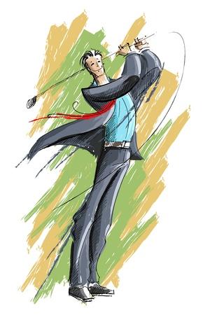 golf green: illustration of business man playing golf