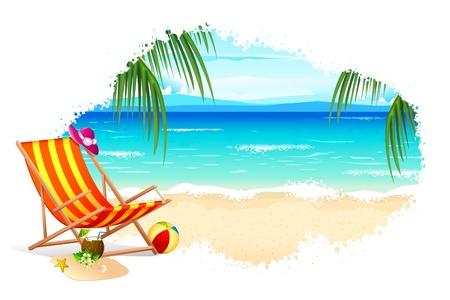 ilustración de la silla en la playa con el mar de palmeras Ilustración de vector