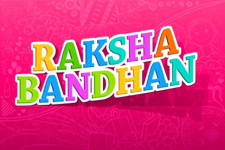illustration of Raksha Bandhan word on doddle background Vector