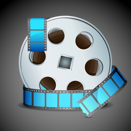 illustration of film reel on abstract background Vector