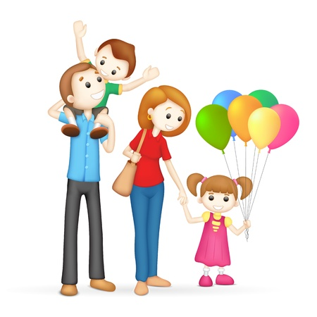 piggyback ride: illustration of 3d happy family in vector fully scalable Illustration