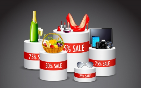 illustration of display of various product in sale kept on platform Stock Illustration - 14355303
