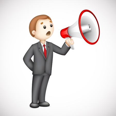 illustration of confident 3d business man in vector announcing with megaphone illustration