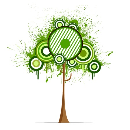 tall tree: illustration of tree on abstract grungy background