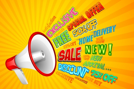 illustration of sale and promotion related word coming out from megaphone Stock Photo