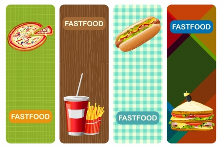 snacks: illustration of different fastfood banner with abstract background Illustration