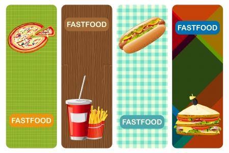 kontinentální: ilustrace různých fastfood banner s abstraktní pozadí