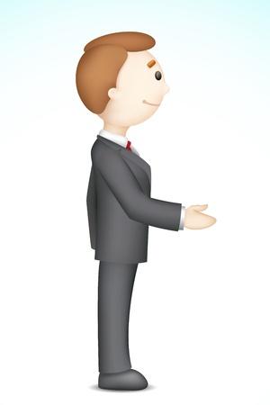 illustration of confident 3d business man in vector in handshake gesture Stock Vector - 14412222