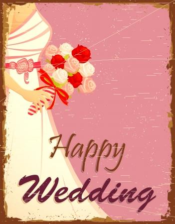 illustration of bride in wedding background in vinatge style Illustration