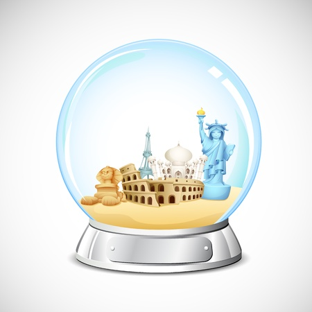 illustration of world famous monument in glass globe Vector