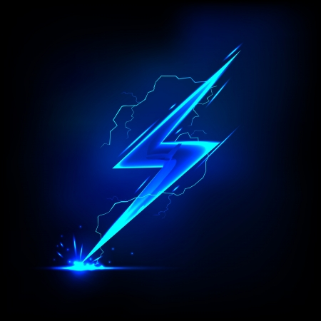 high voltage sign: illustration of sparkling lightning bolt with electric effect