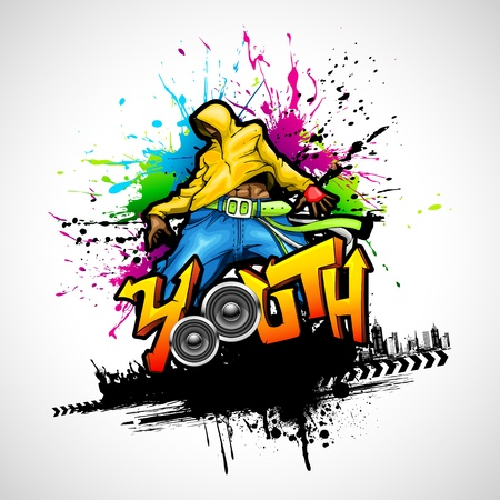 graffiti art: illustration of youth dancing in grungy background Illustration