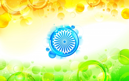 illustration of abstract circular shape in indian flag tricolor