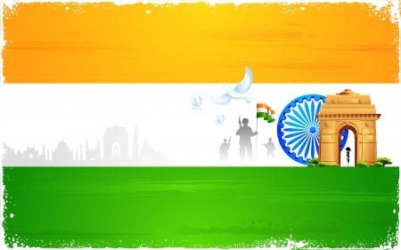 インド: アショク ホイールとインド門の三色旗の図