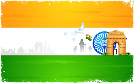 republic day: illustration of Ashok wheel and India Gate on tricolor flag