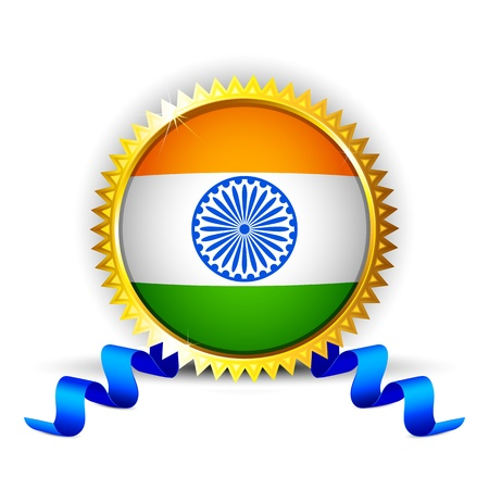 illustration of India tricolor flag in badge with golden frame Vector