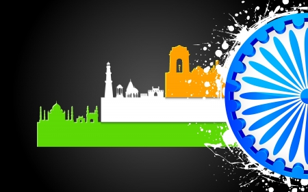 independence day: illustration of famous monument of India in tricolor with Ashok Wheel