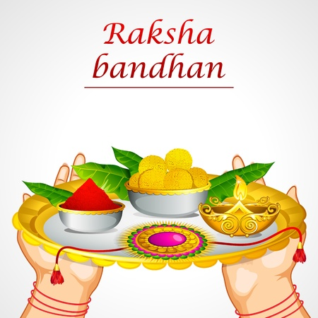 thali: illustration of woman hand holding decorated thali for raksha bandhan Illustration