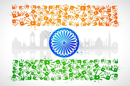 illustration of hand print of Indian tricolor with monument illustration