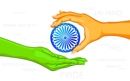 illustration of tricolor hand giving Ashok Chakra to other hand