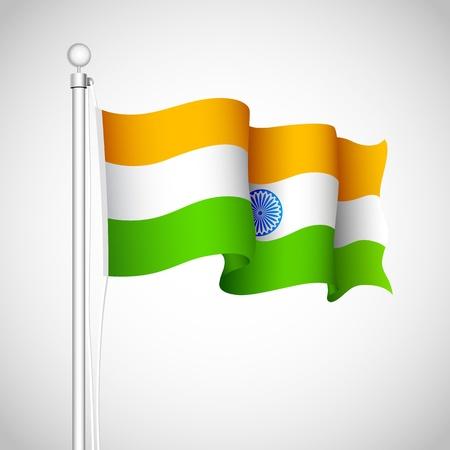 indian culture: illustration of Indian tricolor flag waving high Illustration
