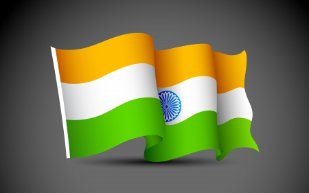 illustration of Indian tricolor flag on abstract background