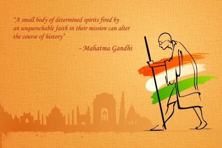 januar: Darstellung Mahatama Gandhi Indien auf Hintergrund