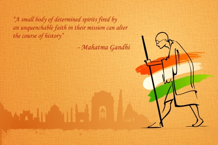 monument in india: illustration of Mahatama Gandhi on India background Illustration
