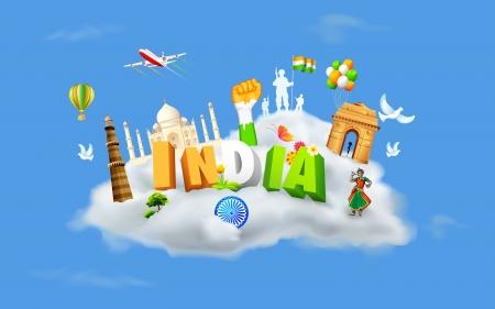 インド: 記念碑とインドの文化を示す雲の上のダンサーの図