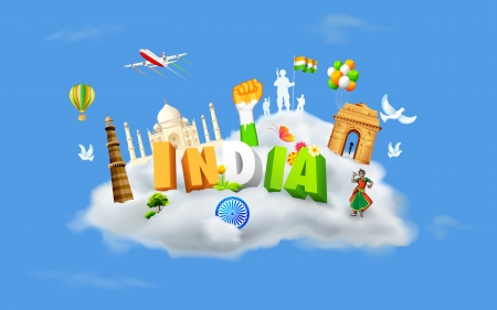 concept day: illustration of monument and dancer on cloud showing culture of India Illustration