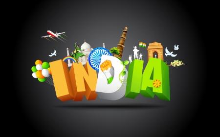 drapeau inde: illustration du monument et danseur montrant culture color�e de l'Inde